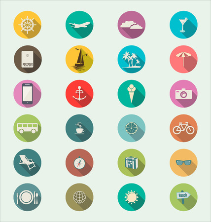 Travel Modern flat icon collection retro color  Vector