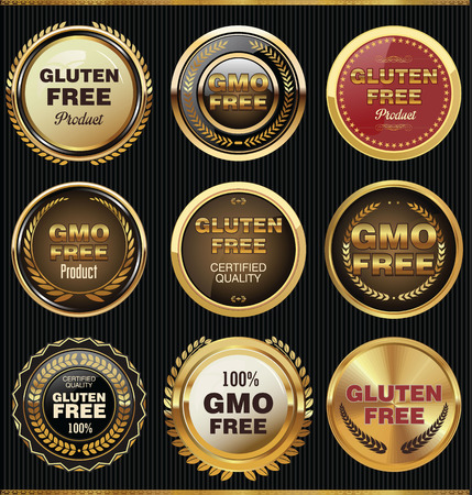 GMO and gluten free label collection Vector