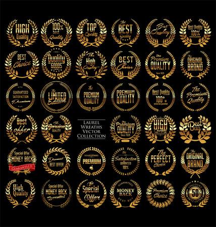 Qualité prime couronne de laurier d'or, ensemble Banque d'images - 28526943
