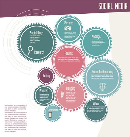 Social media network infographic Vector