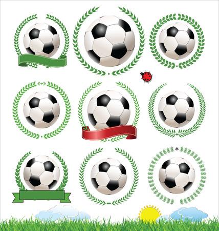 bannière football: Ensemble d'étiquettes de football avec des couronnes de laurier Illustration