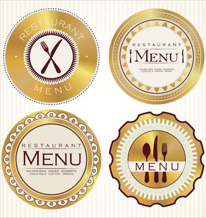 pizzeria label: Set of golden restaurant labels