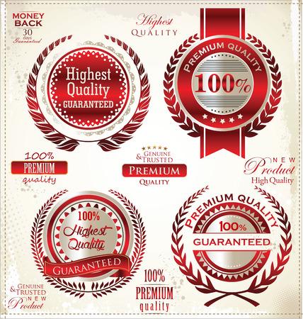 approbation: Etichette bianchi e rossi di qualit� Premium