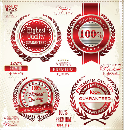 White and red Premium Quality Labels