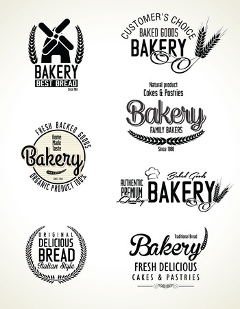 Set of bakery labels Vector