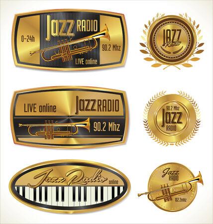 troubadour: Jazz radio golden labels Illustration