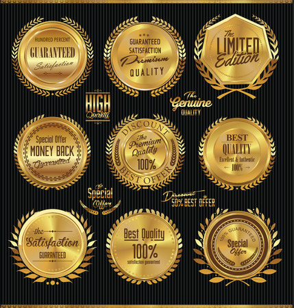 Golden premium quality labels with laurel wreaths