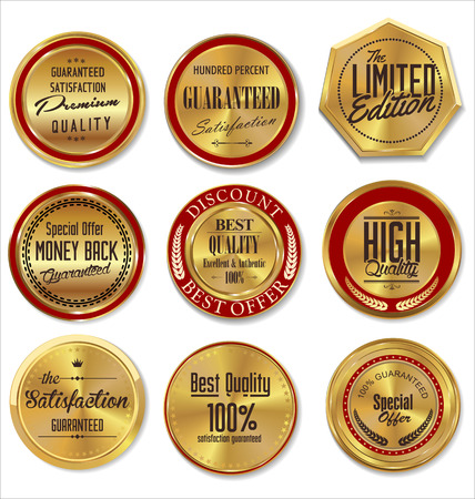 Golden premium quality labels Vector