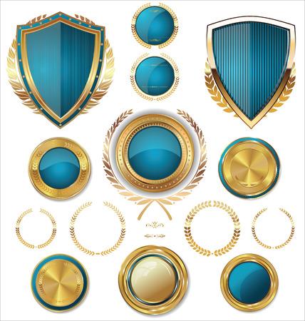 シールド、黄金のラベル、larel の花輪コレクション  イラスト・ベクター素材