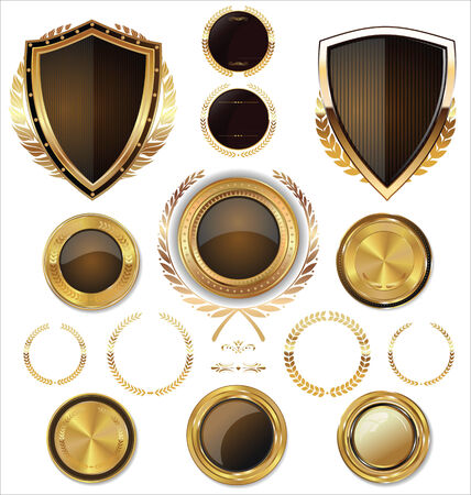 Shields, golden labels and larel wreaths collection Vector