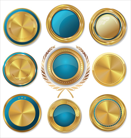 Golden medallion with laurel wreath, collection Vector