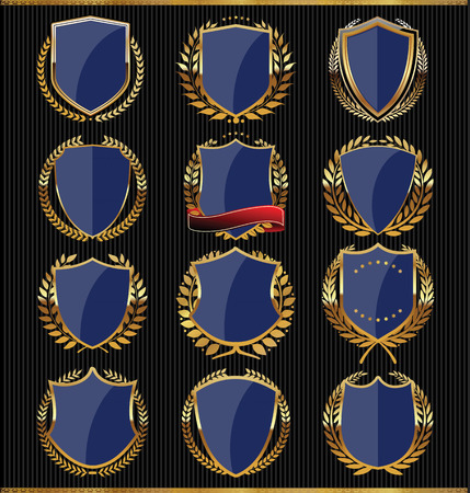 Colección de escudos de oro Vectores