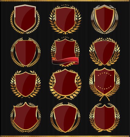 Golden shields collection Vector