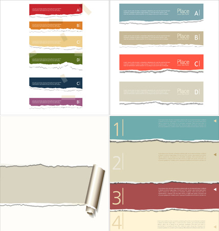 Torn paper background, collection  Vector