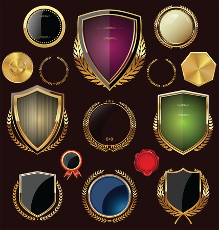 military shield: Golden Shields, labels and laurels, collection