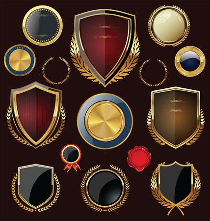 Golden Shields, labels and laurels, collection Vector