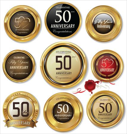 sellos: Aniversario etiquetas de oro Vectores
