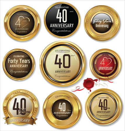 Jahrestag Goldene Metallabzeichen Illustration