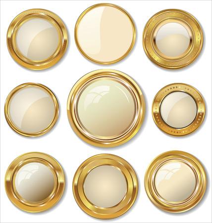 金色の金属製のバッジ  イラスト・ベクター素材