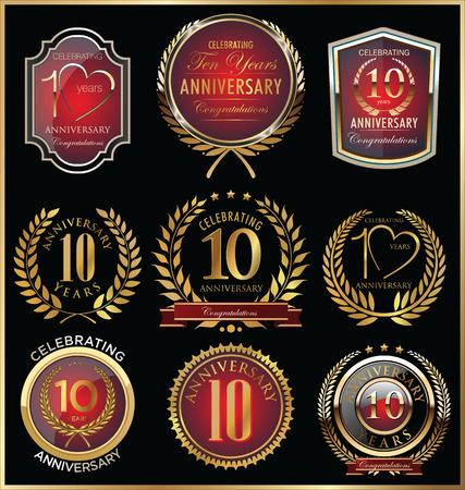 golden laurel wreath 10 years: Anniversary golden labels Illustration