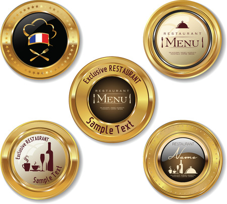Set of golden restaurant labels Vector
