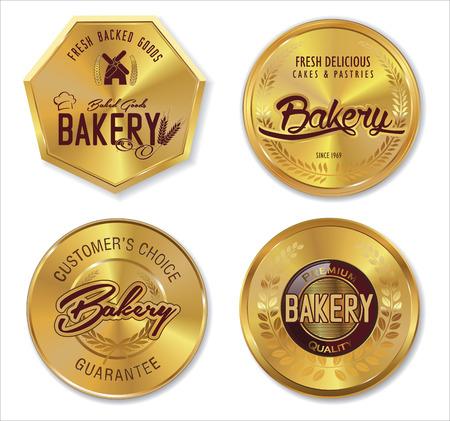battledore: Set of golden bakery labels Illustration