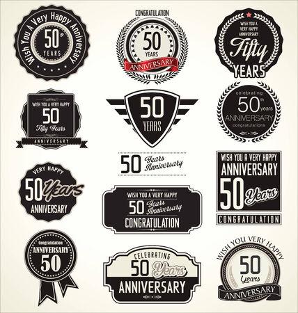 Anniversary retro labels