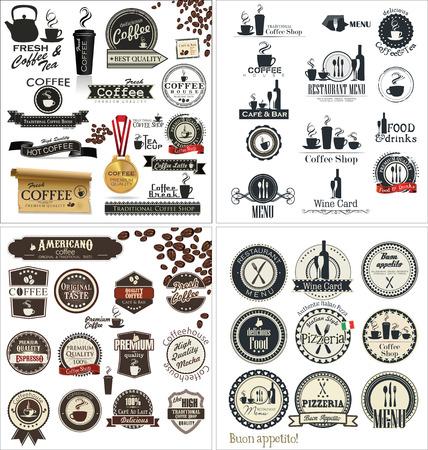 レストランとカフェ、コレクション セットのラベル  イラスト・ベクター素材