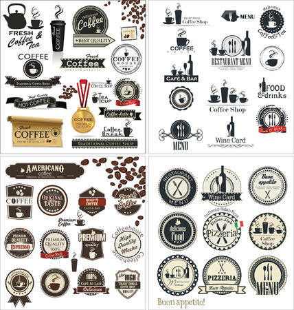 coffee mill: Label set for restaurant and cafe, collection