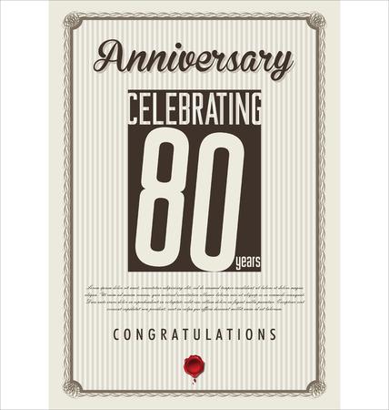 80 years: Anniversary retro background