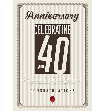 40: Anniversary retro background