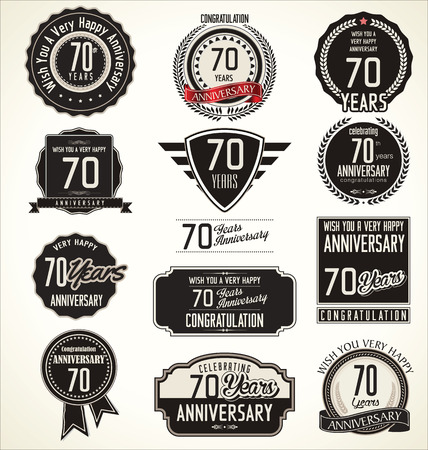 tenth birthday: Anniversary retro badges and labels collection