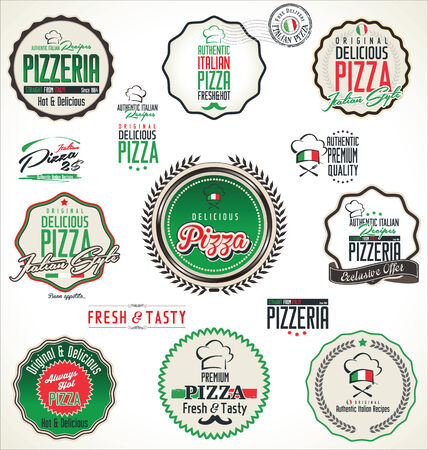 pizza box: Pizza labels and badges