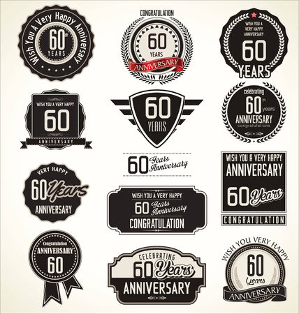 60 years: Anniversary retro badges and labels collection