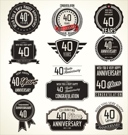 tenth: Anniversary retro badges and labels collection