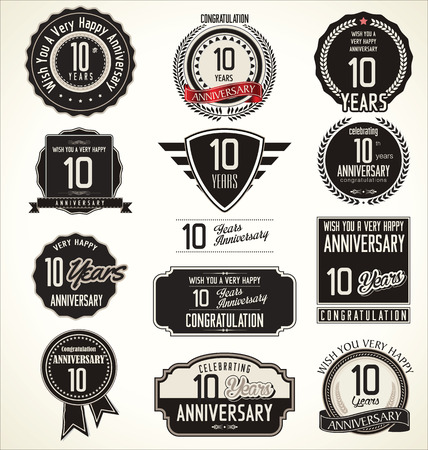 10 years anniversary: Anniversary retro badges and labels collection