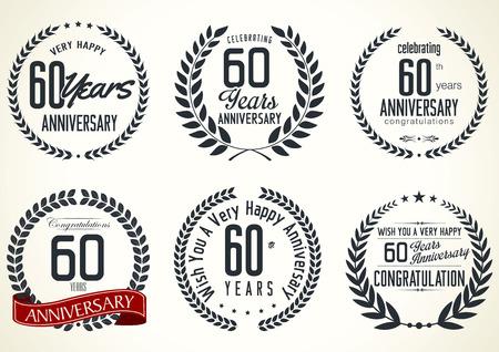 tenth birthday: Anniversary laurel wreath retro labels, 60 years