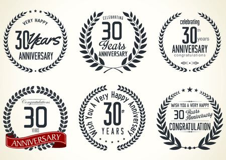 Anniversary laurel wreath retro labels, 30 years Vector