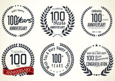 tenth birthday: Anniversary laurel wreath retro labels, 100 years Illustration