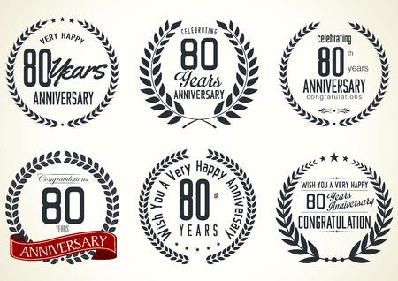 tenth birthday: Anniversary laurel wreath retro labels, 80 years