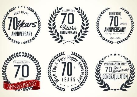 70 years: Anniversary laurel wreath retro labels, 70 years