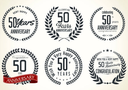tenth birthday: Anniversary laurel wreath retro labels, 50 years