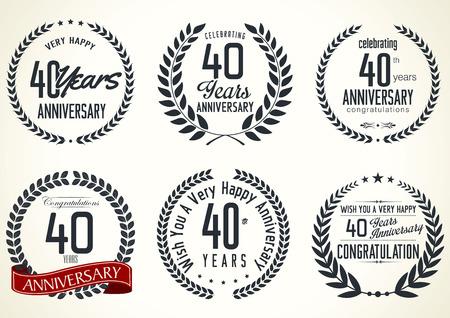 Anniversary laurel wreath retro labels, 40 years Vector