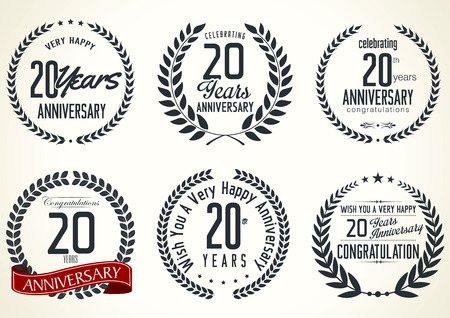 tenth birthday: Anniversary laurel wreath retro labels, 20 years