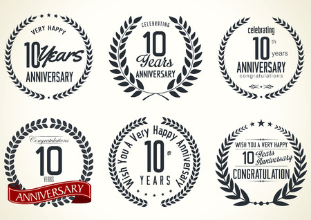 Anniversary laurel wreath retro labels, 10 years Vector