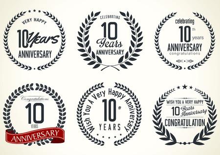 Anniversary laurel wreath retro labels, 10 years Illustration