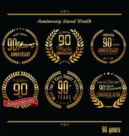 90 years: Anniversario di alloro corona etichette retr�, 90 anni Vettoriali