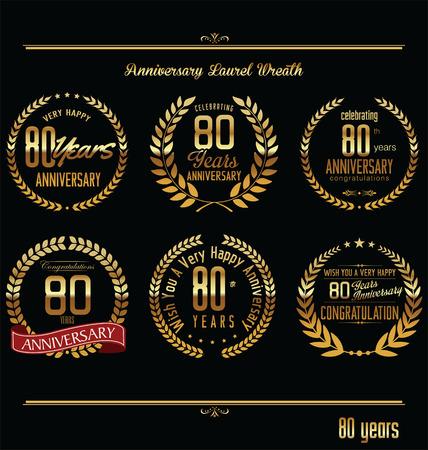 Anniversary laurel wreath retro labels, 80 years Vector
