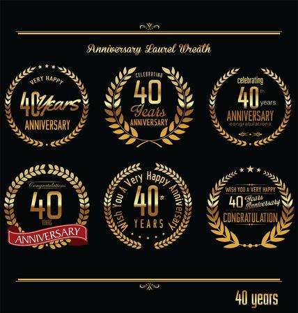 40 years: Anniversary laurel wreath retro labels, 40 years