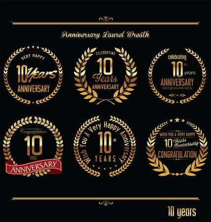 tenth birthday: Anniversary laurel wreath retro labels, 10 years Illustration